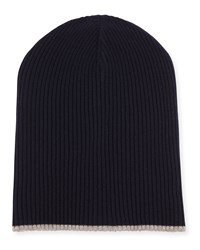 Brunello Cucinelli Cashmere Ribbed Hat With Fold Over Brim Navy Women's