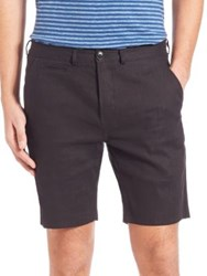 Paul Smith Standard Fit Linen And Cotton Shorts Black