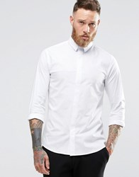 Noose And Monkey Skinny Shirt With Micro Collar With Stretch White
