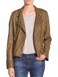 Set Leather Moto Jacket Khaki Dark Red Mud Rose