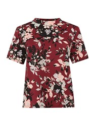 Therapy Silhouette Floral Shell Top Burgundy