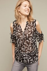 Anthropologie Tressa Open Shoulder Top Black