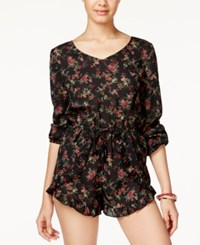 American Rag Printed Ruffle Hem Romper Only At Macy's Dusty Olive Combo