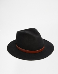 Brixton Messer Fedora With Wide Brim Black