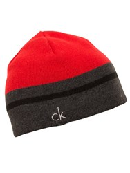 Calvin Klein Reversible Knit Beanie Red