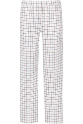 Etre Cecile Checked Stretch Jersey Straight Leg Pants White