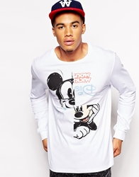 Asos Skater Long Sleeve T Shirt With Mickey Mouse Print White