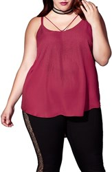 Mblm By Tess Holliday Plus Size Women's Holiday Embellished Crepe High Low Tank