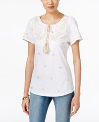 Charter Club Embroidered Short Sleeve Peasant Top Only At Macy's Bright White