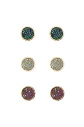Forever 21 Faux Druzy Stone Stud Set