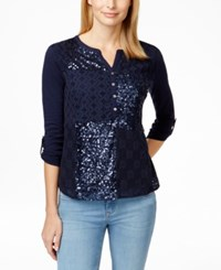 Styleandco. Style And Co. Petite Sequin Eyelet Crochet Henley Top Only At Macy's