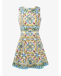Dolce And Gabbana Cotton Blend Majolica Sleeveless Dress White Red Green Blue Yellow