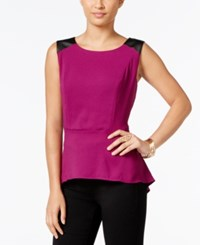 Thalia Sodi Faux Leather Trim Peplum Top Only At Macy's Violet Berry