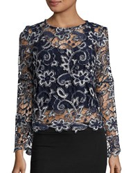 Marina Crocheted Lace Top Navy Silver