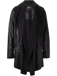Lost And Found Draped Front Leather Coat Black