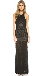 Torn By Ronny Kobo Calina Pointelle Gown Black