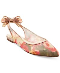 Betsey Johnson Ann Slingback Bow Flats Women's Shoes Bright Floral Multi