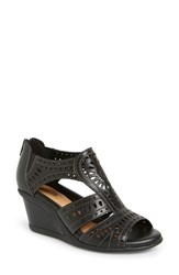 Women's Earth 'Crown' Wedge Sandal Black Leather