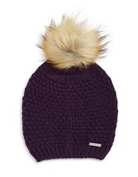 Lauren Ralph Lauren Faux Fur Pom Pom Hat Purple