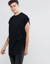 Asos Super Oversized Sleeveless T Shirt With Dropped Armhole And Raw Edge In Black Black