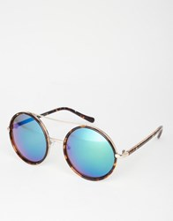 New Look Round Blue Tint Sunglasses Brown