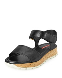 Prada Leather Cork Platform Sandal Black