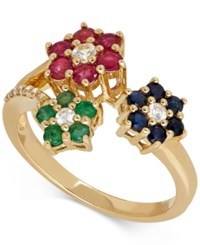 Macy's Multi Gemstone 1 3 8 Ct. T.W. Floral Ring In 14K Gold Yellow Gold