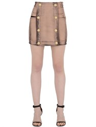 Balmain Washed Stretch Cotton Denim Mini Skirt