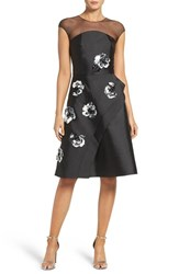 Sachin Babi Women's And Babin Noir 'Nina' Sequin Applique Tulle Fit And Flare Dress
