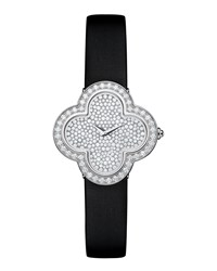 Alhambra Pave White Gold Diamond Watch Small Van Cleef And Arpels White Gold
