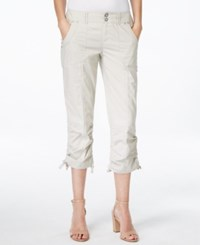 Inc International Concepts Petite Ruched Leg Cargo Capri Pants Only At Macy's Toad Beige
