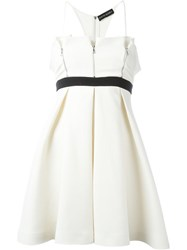 David Koma Zipper Front Contrast Waist Dress White