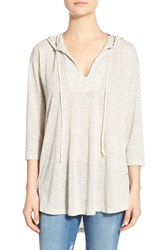 Women's Bobeau High Low Lightweight Pullover Hoodie Olive Ivory