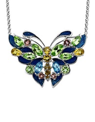 Lord And Taylor Multi Stone Butterfly Necklace In Sterling Silver