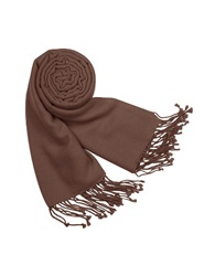 Forzieri Solid Pure Pashmina Fringed Shawl Deep Brown