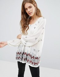 Hazel Border Print Off The Shoulder Blouse Ivory White