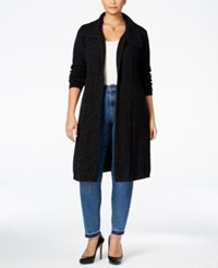 Styleandco. Style Co. Plus Size Cable Knit Duster Cardigan Only At Macy's Deep Black