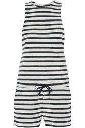Alexander Wang Stripped Cotton French Terry Playsuit Blue