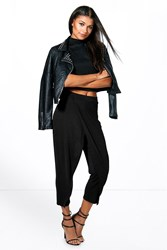 Boohoo Wrap Front Cropped Trouser Black