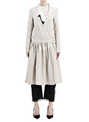 Anne Sofie Madsen Long Linen Wrap Dress Grey
