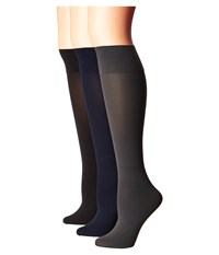 Hue Simply Skinny Knee Socks 3 Pack Black Cobblestone Navy Women's Knee High Socks Shoes