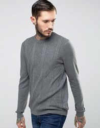 Asos Cable Jumper In Cotton Moonlight Blue