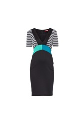 Maiocci Collection Stipey Contrast Classic Dress Black