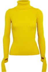 Jacquemus Cutout Ribbed Wool Turtleneck Sweater Yellow