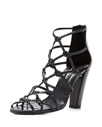 Delman Scandal Knotted High Heel Sandals Black