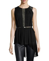 Halston Sleeveless Lace Inset Belted Top Black