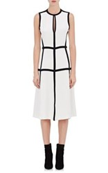 Giulietta Women's Keyhole Neck Silk Crepe De Chine Sheath Dress White Black White Black