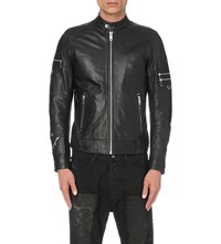 Diesel L Sound Leather Bomber Jacket Black