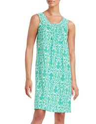 Lauren Ralph Lauren Smocked Neck Nightgown Ikat Green