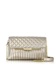 Roccobarocco Laminated Quilted Eco Leather Clutch Gold